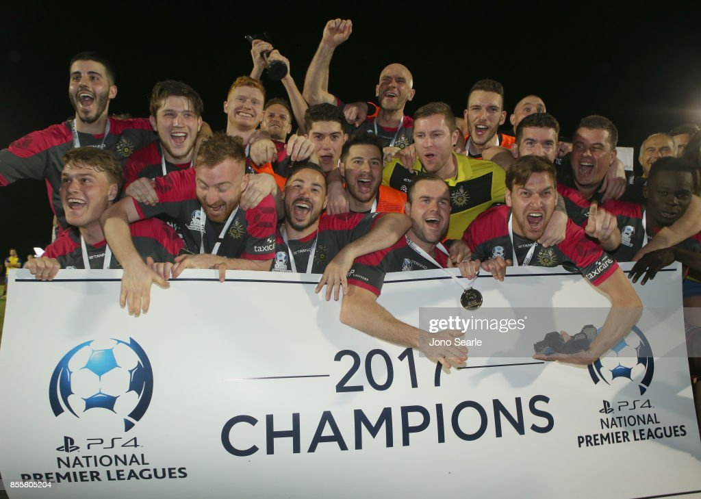 Heidelberg United FC celebrate the win after the National Premier Leagues Grand Final match between the Brisbane Strikers and Heidelberg United FC at Perry Park on September 30, 2017 in Brisbane, Australia.