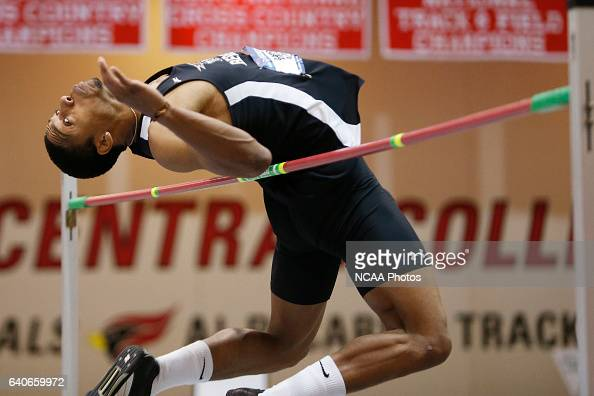 Heidelberg's Nathan Davis goes up and over the bar in the high jump at the Division III Men's and Women's Indoor Track and Field Championships held...