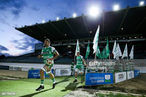 Heiden BedwellCurtis of Manawatu leads his team onto the field during the round eight Mitre 10 Cup match between Manawatu and Counties Manukau at...