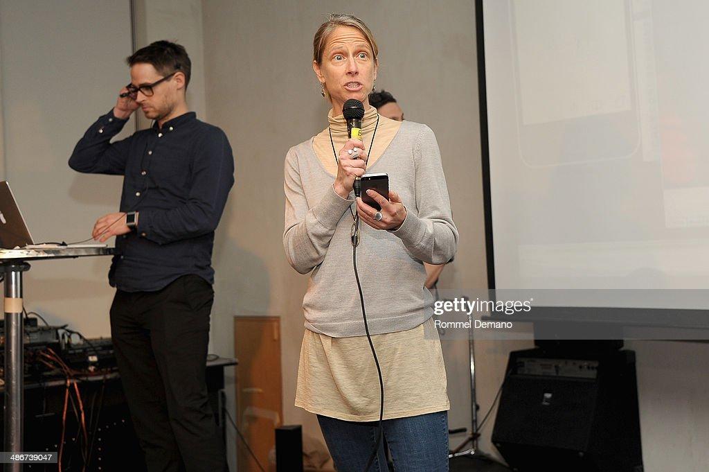 Heidi Boisvert (R) and Harald Haraldsson of Team Faceless speak at the Tribeca Hacks (Mobile) Presentation during the 2014 Tribeca Film Festival at Bennett Space on April 25, 2014 in New York City.