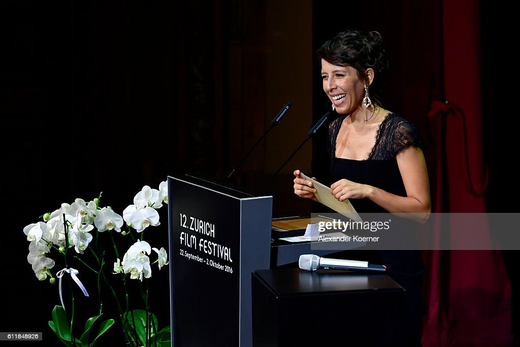 Heidi Brandenburg gives her acceptance speech after receiving the award for international documentary for her movie 'When Two Worlds Collide' on stage during the Award Night Ceremony during the 12th Zurich Film Festival on October 1, 2016 in Zurich, Switzerland. The Zurich Film Festival 2016 will take place from September 22 until October 2.