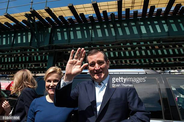 Heidi Cruz and her husband Republican presidential candidate Ted Cruz arrive at the restaurant Sabrosura 2 on April 6 2016 in the Bronx borough of...