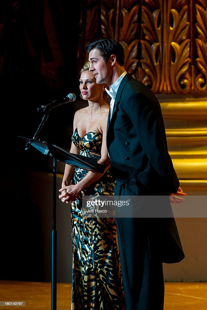 Heidi Hamels (L) and Cole Hamels speak at the Academy of Music's 156th Anniversary Concert at the Academy of Music on January 26, 2013 in Philadelphia, Pennsylvania.