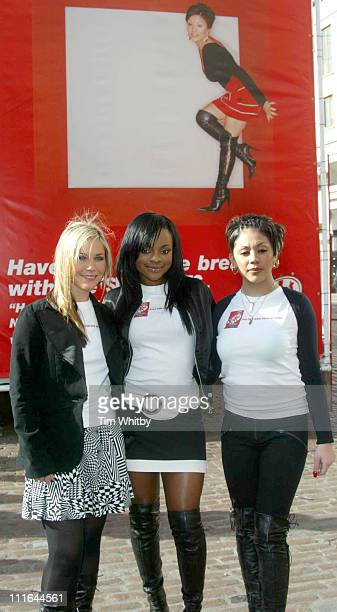 Heidi Keisha and Mutya during The Sugababes Part of the new Ad Campaign for KitKat Cubes at Covent Garden in London United Kingdom