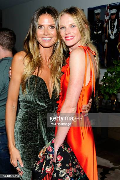 Heidi Klum and Anne V attend Brooks Brothers with The Cinema Society host the premiere of 'House of Z' at Crosby Street Hotel on September 7 2017 in...