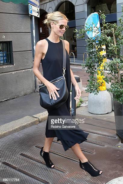 Heidi Klum and boyfriend Vito Schnabel are seen during Milan Fashion Week Spring/Summer 2016 on September 26 in Milan Italy