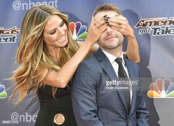 Heidi Klum and Chris Hardwick attend NBC's 'America's Got Talent' Judge Cut Rounds at NBC Universal Lot on April 27 2017 in Universal City California