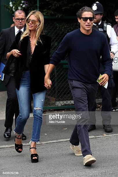 Heidi Klum and her boyfriend Vito Schnabel seen arriving at Wimbledon on July 8 2016 in London England