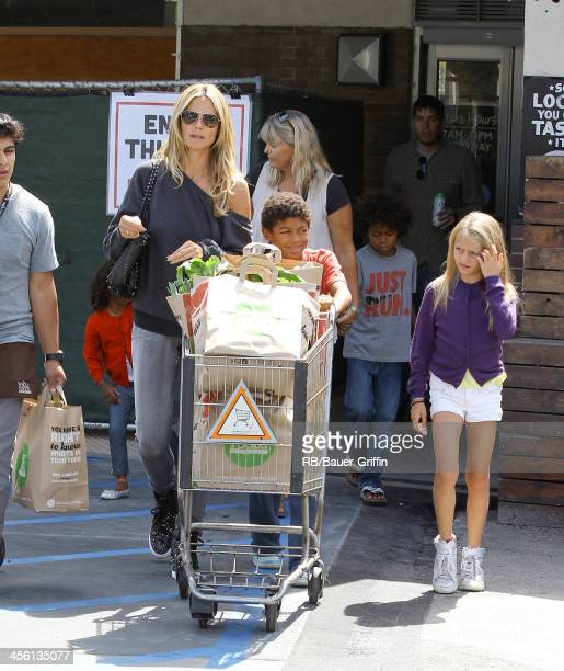 Heidi Klum and her children Lou Samuel Leni Samuel Johan Samuel and Henry Samuel are seen shopping at Whole Foods on August 02 2013 in Los Angeles...