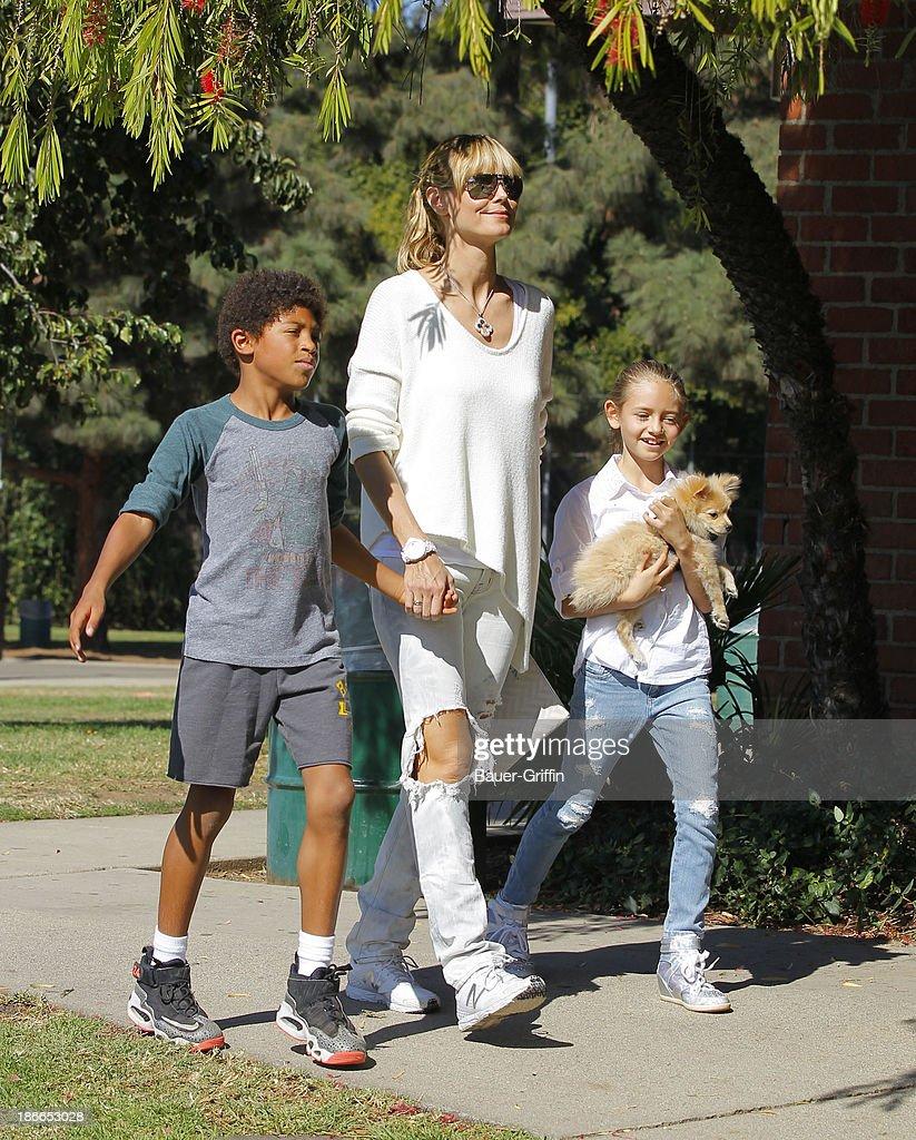 Heidi Klum and her children, son Henry Samuel and daughter, Leni Samuel are seen on November 02, 2013 in Los Angeles, California.