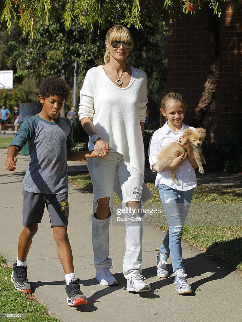 <a gi-track='captionPersonalityLinkClicked' href=/galleries/search?phrase=Heidi+Klum&family=editorial&specificpeople=178954 ng-click='$event.stopPropagation()'>Heidi Klum</a> and her children, son <a gi-track='captionPersonalityLinkClicked' href=/galleries/search?phrase=Henry+Samuel&family=editorial&specificpeople=3216044 ng-click='$event.stopPropagation()'>Henry Samuel</a> and daughter, Leni Samuel are seen on November 02, 2013 in Los Angeles, California.