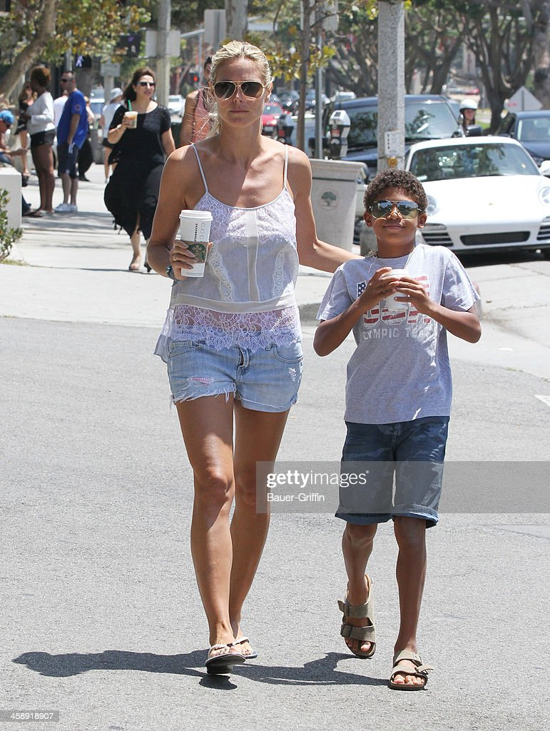 Heidi Klum and her son Henry Samuel are seen on July 27 2013 in los Angeles California