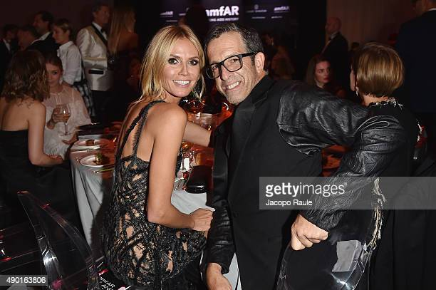 Heidi Klum and Kenneth Cole are seen at amfAR Milano 2015 at La Permanente on September 26 2015 in Milan Italy