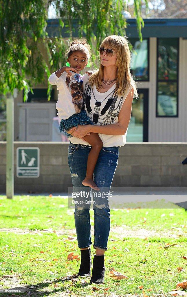 Heidi Klum and Lou Samuel are seen on January 18, 2014 in Los Angeles, California.