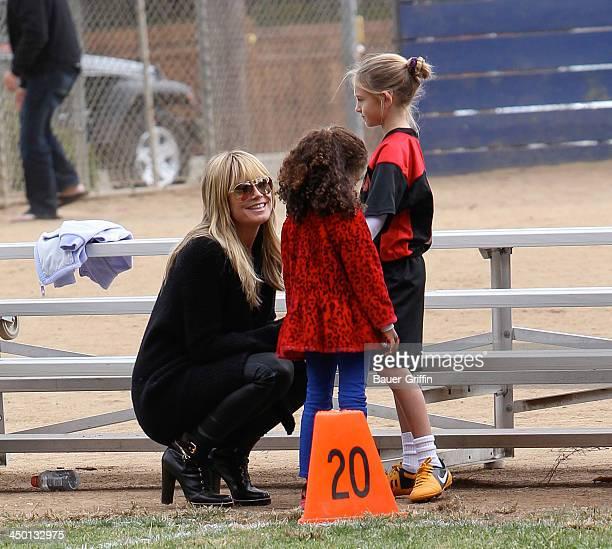 Heidi Klum and Lou Samuel with Leni Samuel are seen on November 16 2013 in Los Angeles California