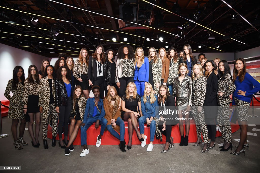 Heidi Klum (C) and Louise Roe pose with models during the Esmara By Heidi Klum Lidl Fashion Presentation at New York Fashion Week #Letswow at ArtBeam on September 7, 2017 in New York City.