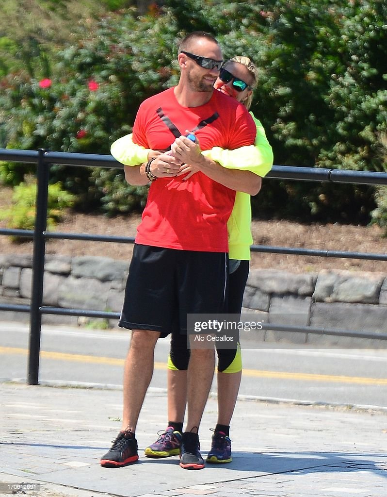 Heidi Klum and Martin Kristen are seen in Battery Park City on June 15 2013 in New York City