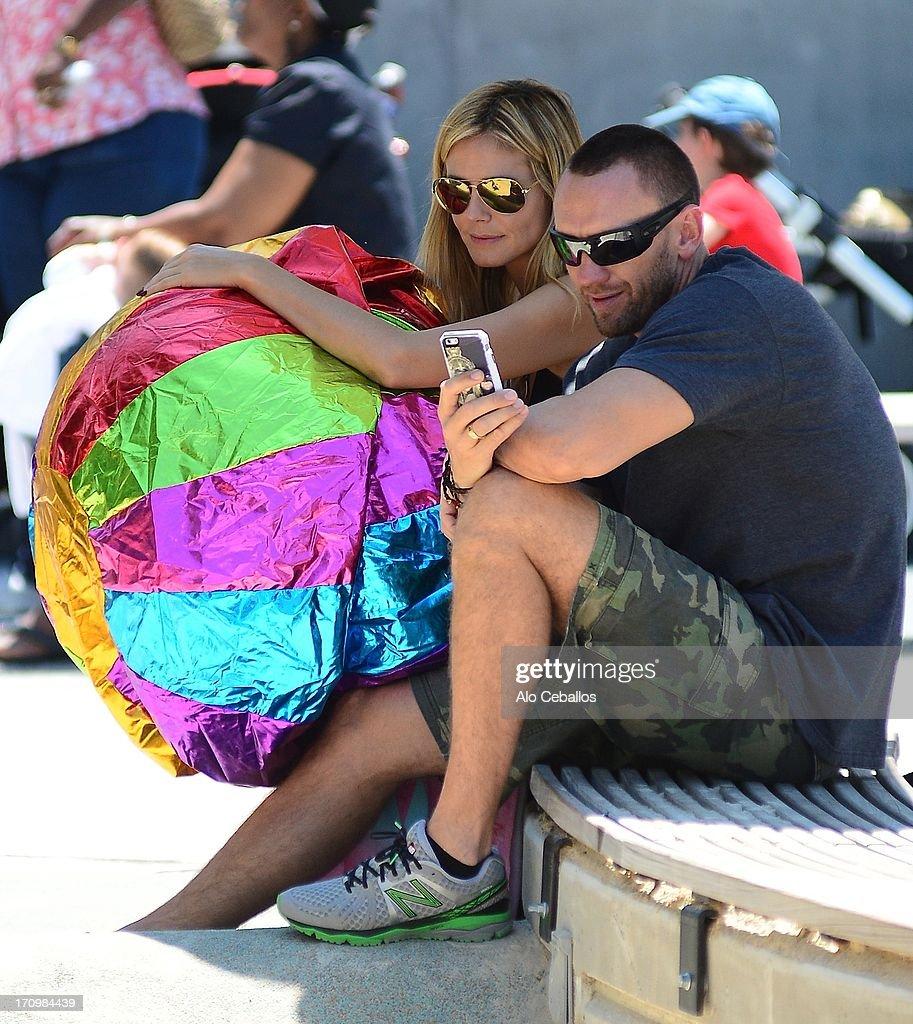 Heidi Klum and Martin Kristen are seen in Tribeca Hudson River Park on June 20, 2013 in New York City.