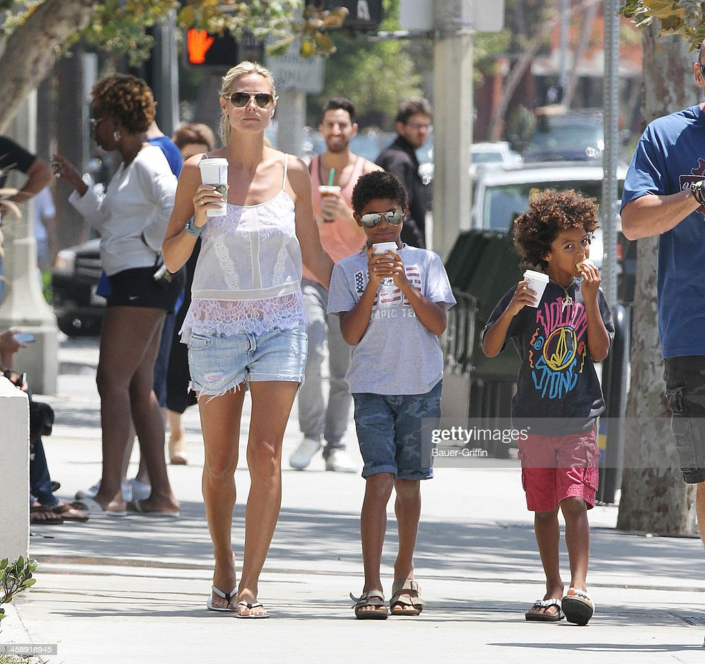Heidi Klum and Martin Kristen are seen with her sons Henry Samuel and Johan Samuel on July 27 2013 in los Angeles California