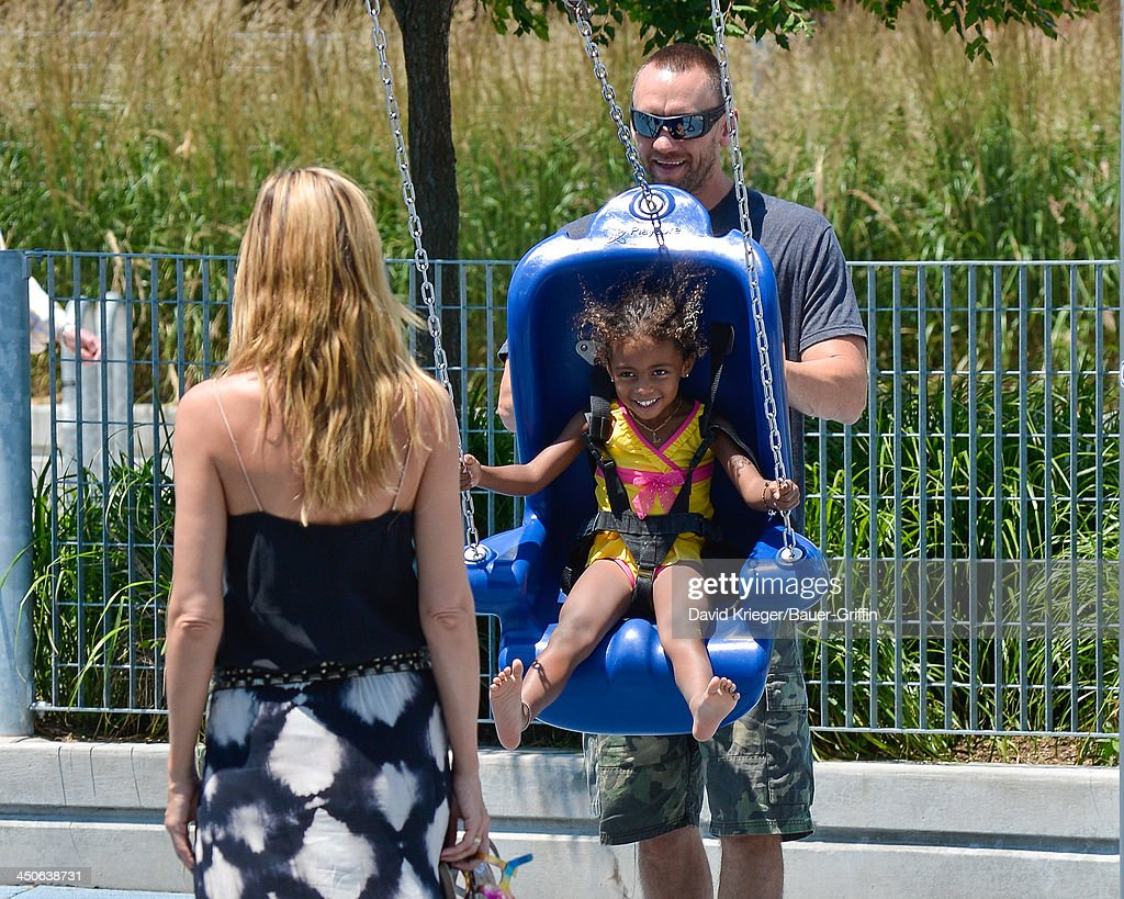 Heidi Klum and Martin Kristen with Lou Samuel are seen on June 21 2013 in New York City