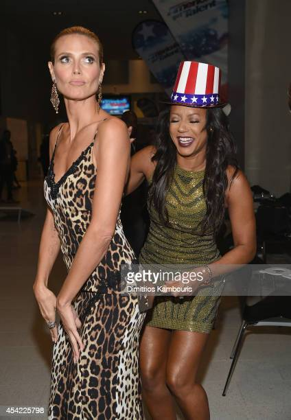 Heidi Klum and Mel B attend the 'America's Got Talent' Barbecue And Viewing Party at Rockefeller Plaza on August 26 2014 in New York City