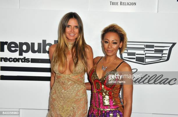 Heidi Klum and Mel B attend the VMA after party hosted by Republic Records and Cadillac at TAO restaurant at the Dream Hotel on August 27 2017 in Los...