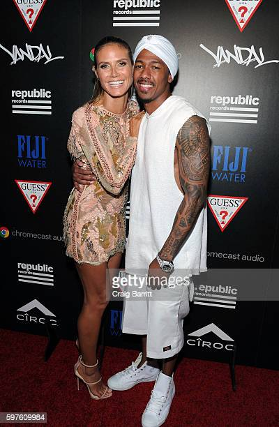 Heidi Klum and Nick Cannon attend Republic Records VMA party with FIJI water on August 28 2016 in New York City