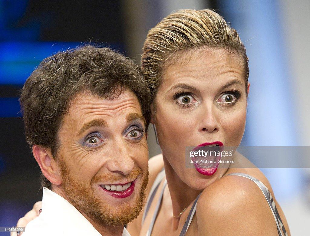 Heidi Klum and Pablo Motos attend 'El Hormiguero' TV show at Vertice Studio on June 13 2012 in Madrid Spain