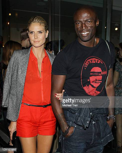 Heidi Klum and Seal attend the opening night of 'Myths Monsters And Legends' held at Rankin Gallery on October 12 2011 in Los Angeles California