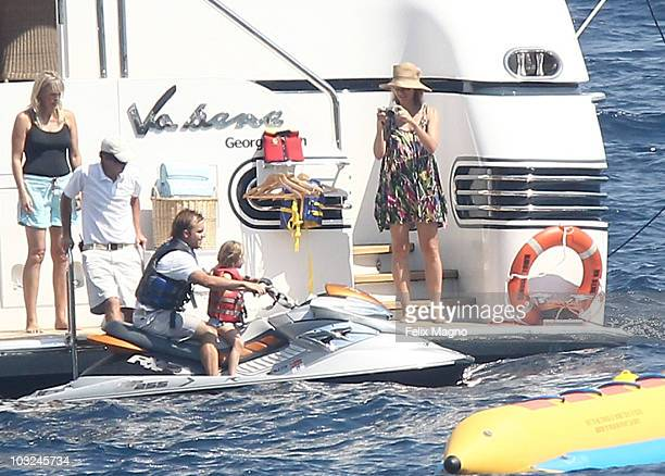 Heidi Klum and Seal on holiday with their kids Leni Henry Joahn and Lou and Heidi Klum's parents Erna and Gunther on August 4 2010 in Portofino Italy