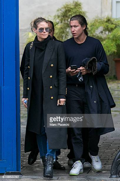 Heidi Klum and Vito Schnabel are seen in Le Marais quarter on October 20 2016 in Paris France