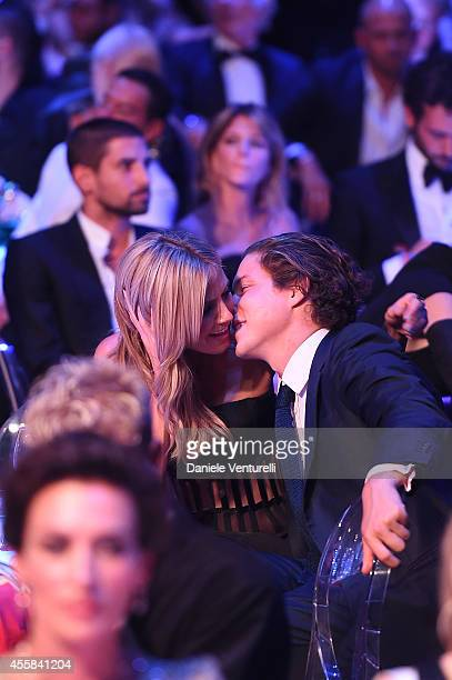 Heidi Klum and Vito Schnabel attend amfAR Milano 2014 as a part of Milan Fashion Week Womenswear Spring/Summer 2015 on September 20 2014 in Milan...