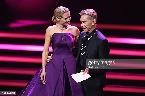 Heidi Klum and Wolfgang Joop are seen on stage during the Bambi Awards 2015 show at Stage Theater on November 12 2015 in Berlin Germany