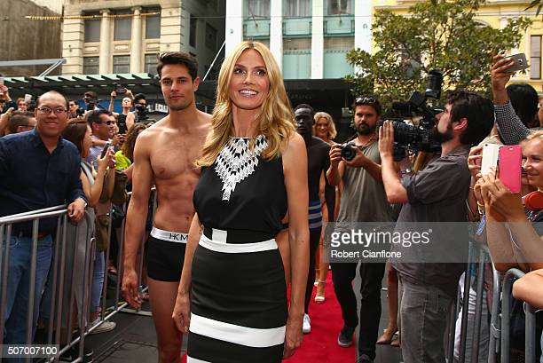 Heidi Klum appears at Myer Melbourne on January 27 2016 in Melbourne Australia