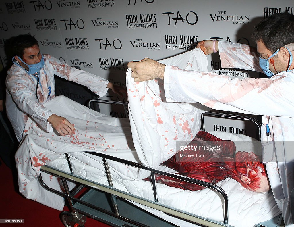 Heidi Klum arrives at her 12th Annual Halloween Party at TAO Nightclub at The Venetian on October 29, 2011 in Las Vegas, Nevada.