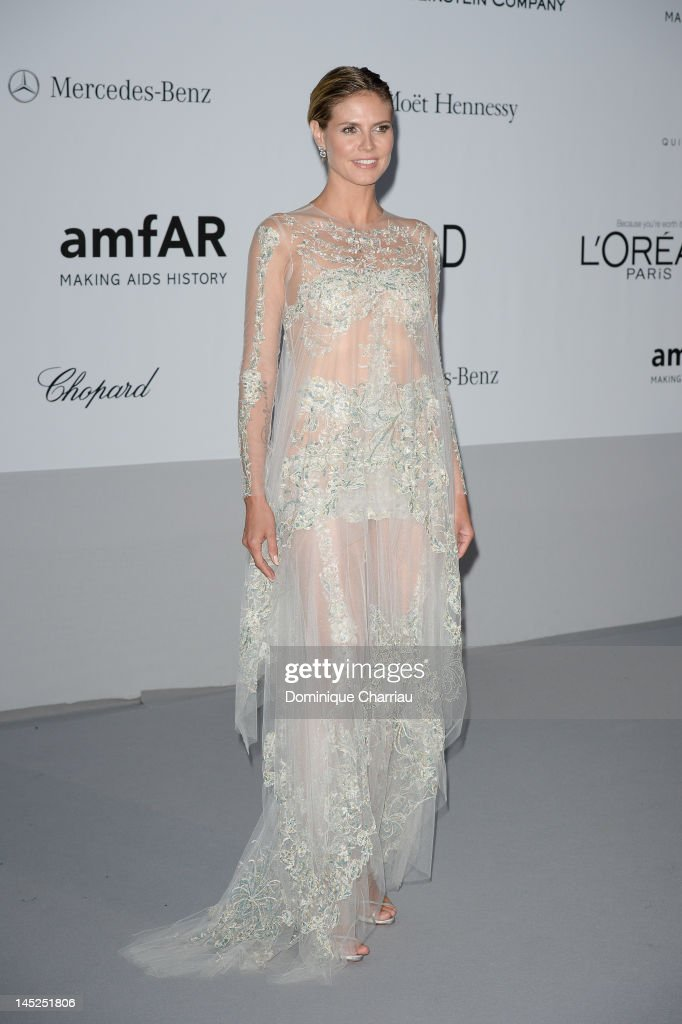 <a gi-track='captionPersonalityLinkClicked' href=/galleries/search?phrase=Heidi+Klum&family=editorial&specificpeople=178954 ng-click='$event.stopPropagation()'>Heidi Klum</a> arrives at the 2012 amfAR's Cinema Against AIDS during the 65th Annual Cannes Film Festival at Hotel Du Cap on May 24, 2012 in Cap D'Antibes, France.