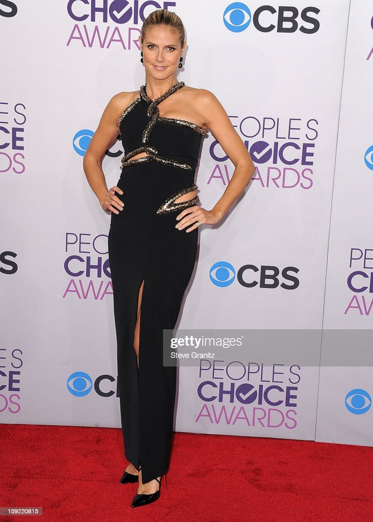 <a gi-track='captionPersonalityLinkClicked' href=/galleries/search?phrase=Heidi+Klum&family=editorial&specificpeople=178954 ng-click='$event.stopPropagation()'>Heidi Klum</a> arrives at the 2013 People's Choice Awards at Nokia Theatre L.A. Live on January 9, 2013 in Los Angeles, California.