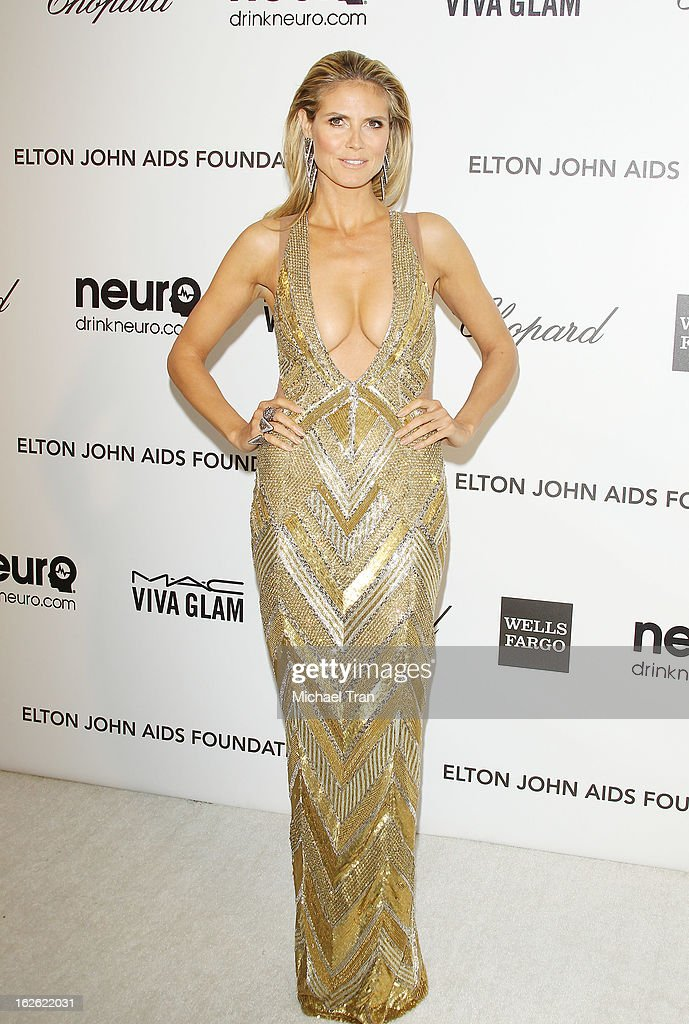 <a gi-track='captionPersonalityLinkClicked' href=/galleries/search?phrase=Heidi+Klum&family=editorial&specificpeople=178954 ng-click='$event.stopPropagation()'>Heidi Klum</a> arrives at the 21st Annual Elton John AIDS Foundation Academy Awards viewing party held at West Hollywood Park on February 24, 2013 in West Hollywood, California.