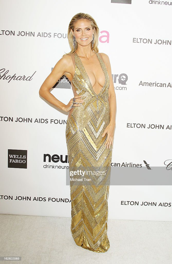 Heidi Klum arrives at the 21st Annual Elton John AIDS Foundation Academy Awards viewing party held at West Hollywood Park on February 24, 2013 in West Hollywood, California.
