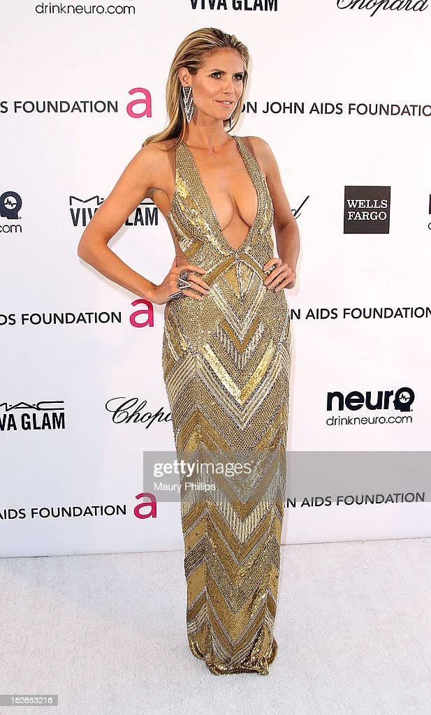Heidi Klum arrives at the 21st Annual Elton John AIDS Foundation Academy Awards Viewing Party at Pacific Design Center on February 24, 2013 in West Hollywood, California.