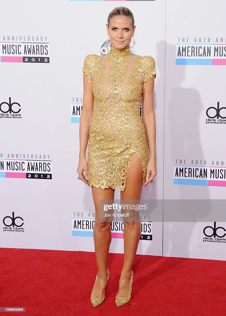<a gi-track='captionPersonalityLinkClicked' href=/galleries/search?phrase=Heidi+Klum&family=editorial&specificpeople=178954 ng-click='$event.stopPropagation()'>Heidi Klum</a> arrives at The 40th American Music Awards at Nokia Theatre L.A. Live on November 18, 2012 in Los Angeles, California.