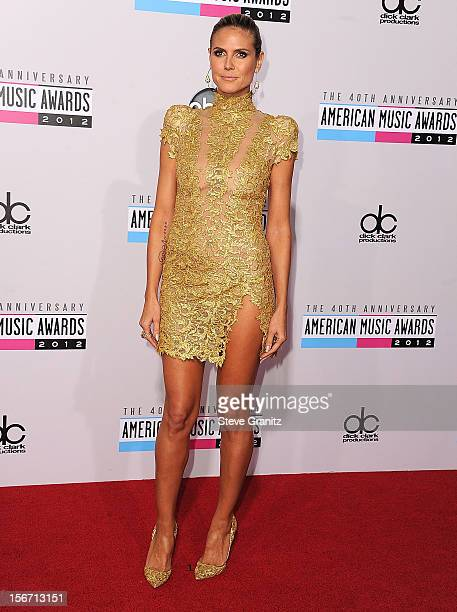 Heidi Klum arrives at the 40th Anniversary American Music Awards at Nokia Theatre LA Live on November 18 2012 in Los Angeles California