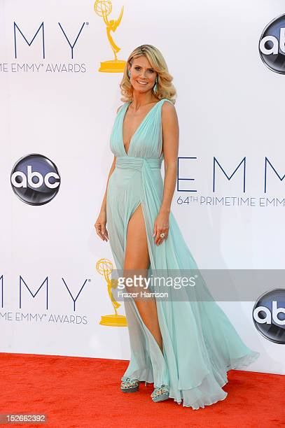 Heidi Klum arrives at the 64th Annual Primetime Emmy Awards at Nokia Theatre LA Live on September 23 2012 in Los Angeles California