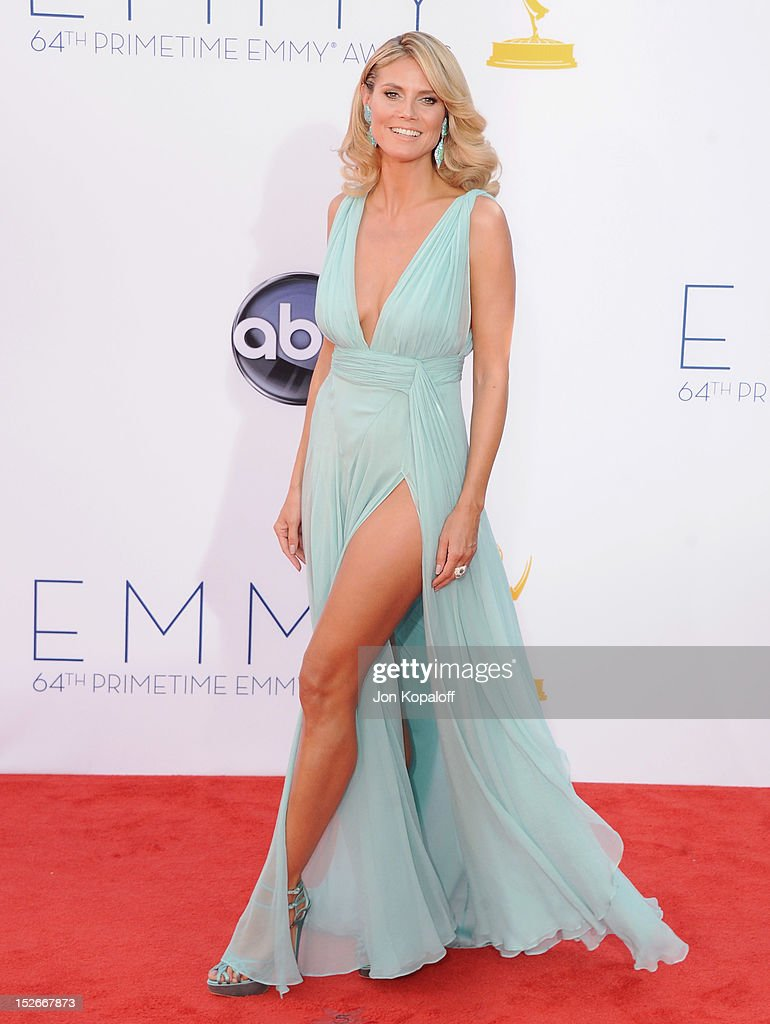 Heidi Klum arrives at the 64th Primetime Emmy Awards at Nokia Theatre LA Live on September 23 2012 in Los Angeles California