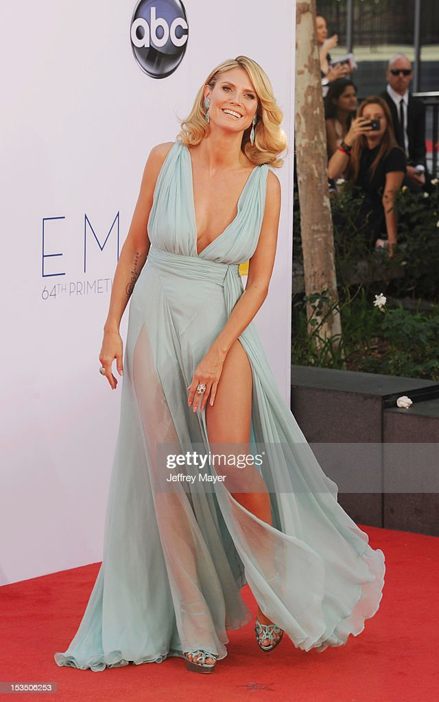 Heidi Klum arrives at the 64th Primetime Emmy Awards at Nokia Theatre L.A. Live on September 23, 2012 in Los Angeles, California.