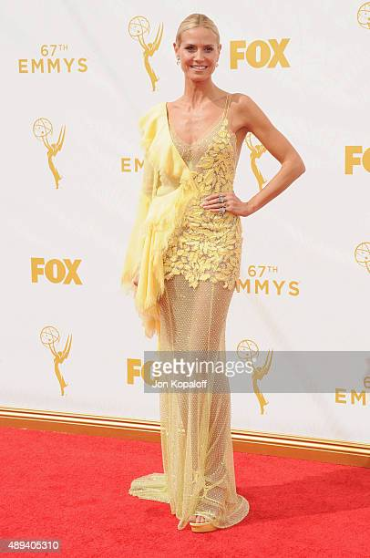 Heidi Klum arrives at the 67th Annual Primetime Emmy Awards at Microsoft Theater on September 20 2015 in Los Angeles California