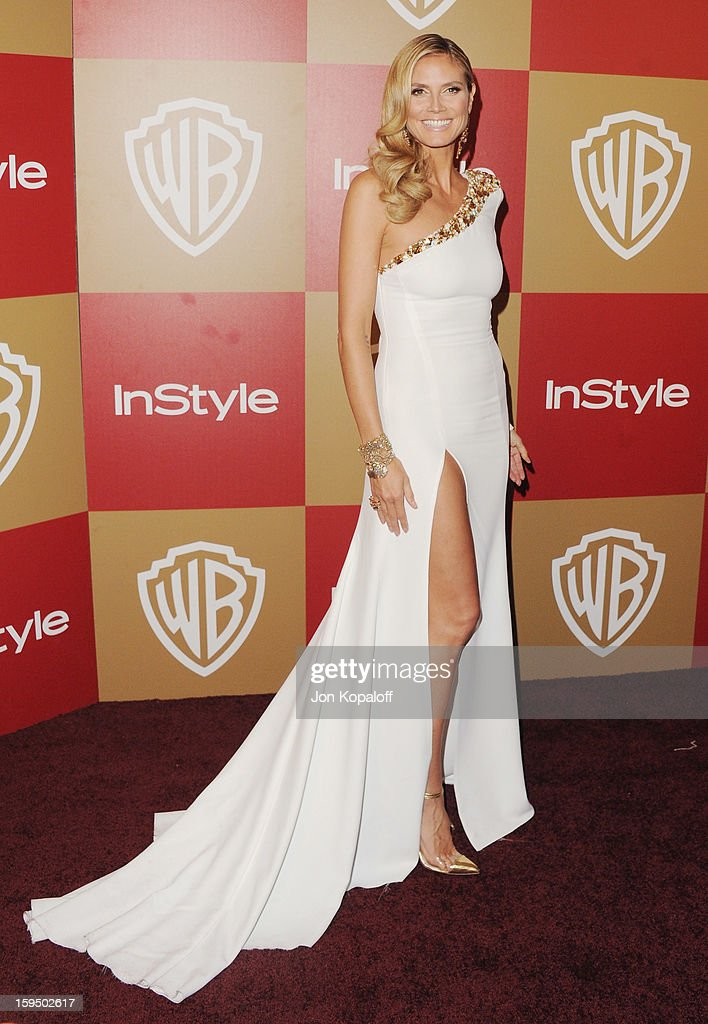 Heidi Klum arrives at the InStyle And Warner Bros. Golden Globe Party at The Beverly Hilton Hotel on January 13, 2013 in Beverly Hills, California.