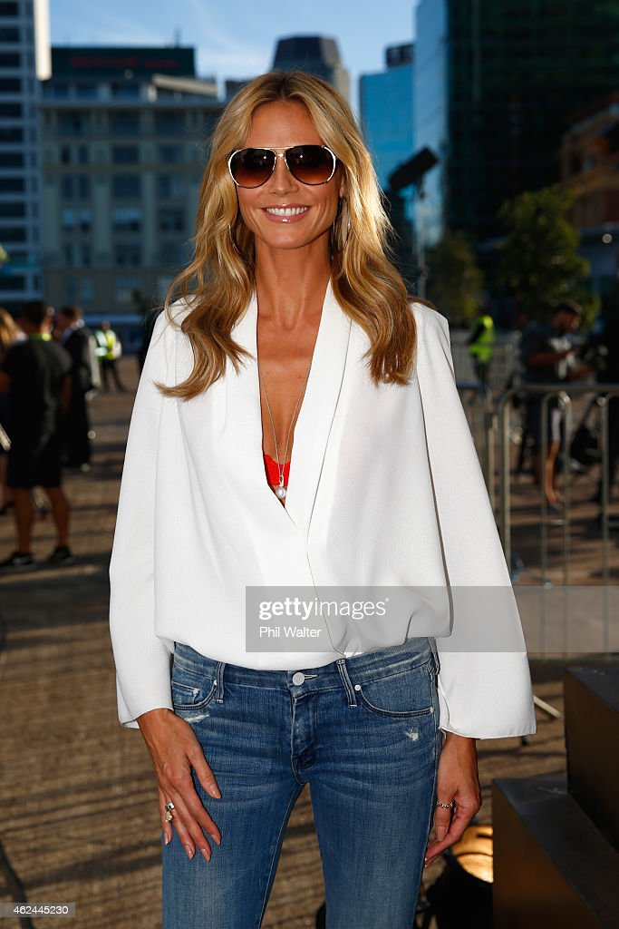Heidi Klum arrives for the 2015 NRL season launch at Shed 10 on January 29, 2015 in Auckland, New Zealand.