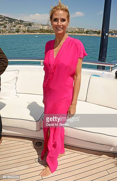 Heidi Klum attends a private luncheon hosted by Len Blavatnik and Harvey Weinstein aboard Odessa II on May 15 2016 in Cannes France