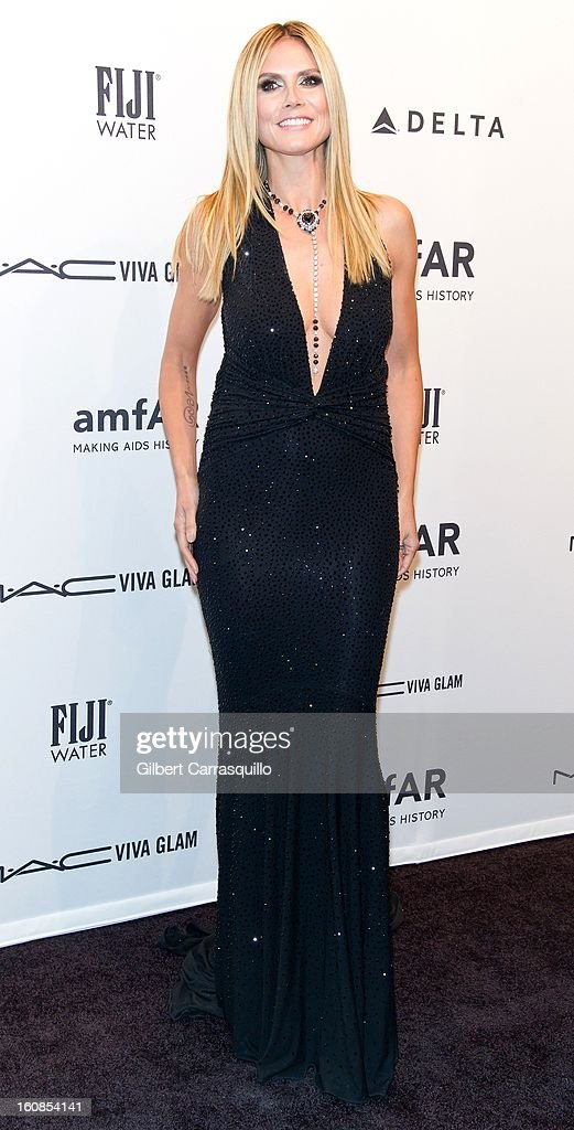 Heidi Klum attends amfAR New York Gala To Kick Off Fall 2013 Fashion Week Cipriani Wall Street on February 6, 2013 in New York City.